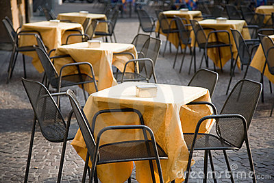 Cafe tables outdoors