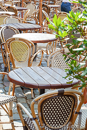 Cafe terrace with tables and chair