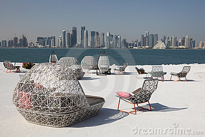 Cafe with view of Doha downtown