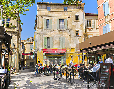 Cafes, Arles France Editorial Stock Photo