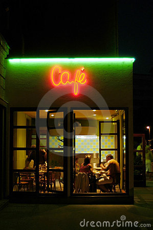 Free Cafeteria By Night Royalty Free Stock Photos - 1579198