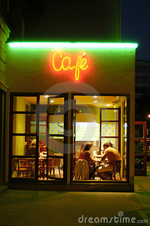 Free Cafeteria By Night Stock Photography - 1579202
