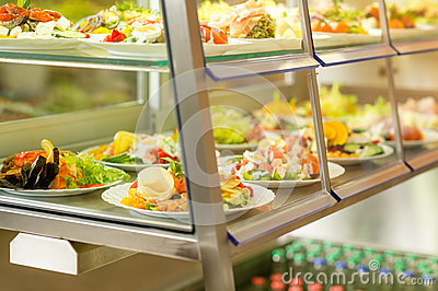Cafeteria self service display food fresh salad