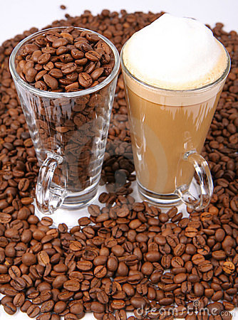 Caffe latte and coffee beans