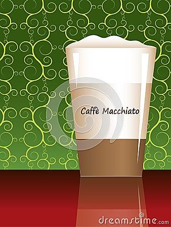 Caffe macchiato with reflection