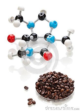 Caffeine molecule with coffee beans