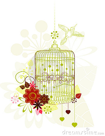 Cage with flowers and bird