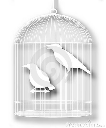 Caged birds cutout