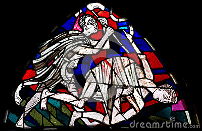 Cain killing Abel in stained glass