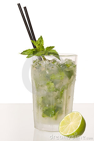 Colorful caipirinha cocktail with straw and slice of lime, isolated on ...