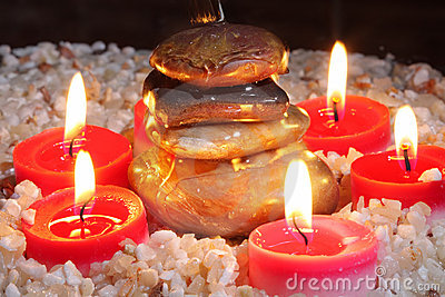 Cairn surrounded by candles