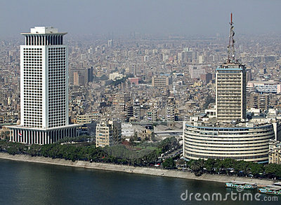 Cairo aerial view with Nile