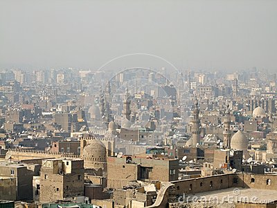 Cairo aerial view with smog