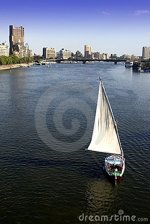 Free Cairo, Egypt City Skyline Sailboat Nile River Royalty Free Stock Image - 11284456