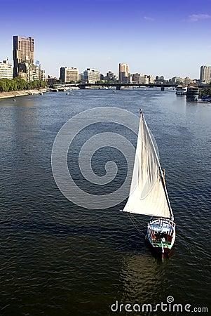 Cairo, Egypt City Skyline Sailboat Nile River