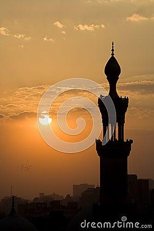 Cairo Mosque Minaret at Dusk