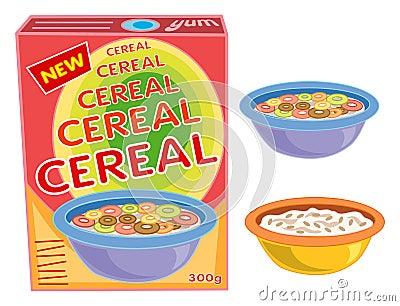 Caixa, cereal, bacia, papa de aveia