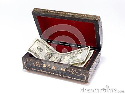 Caixa de jóia velha com dinheiro para dentro