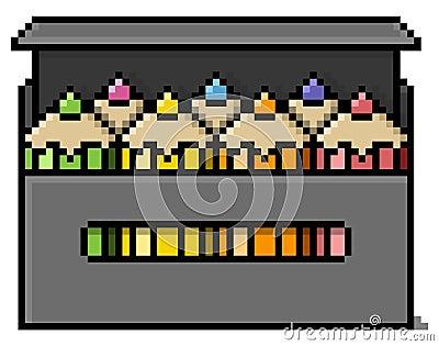 Caixa de lápis colorida em pixéis grandes