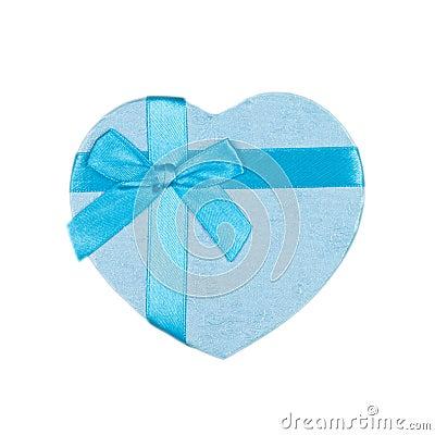 Caixa de presente azul do coração com uma curva