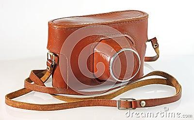 Caixa velha do couro da câmera da foto