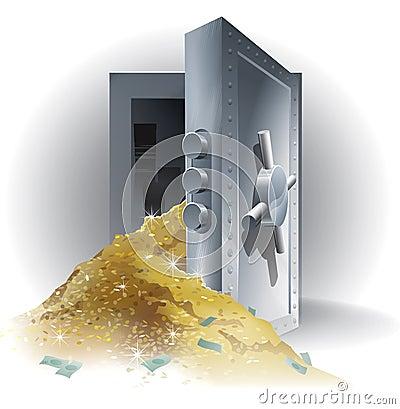 Caja fuerte con oro