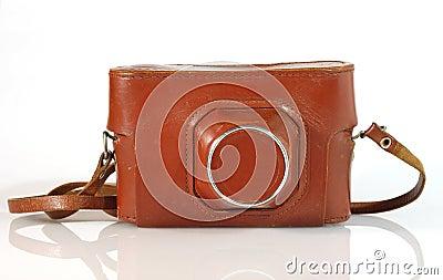 Caja vieja del cuero de la cámara de la foto