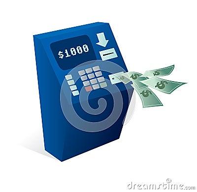 Cajero autom tico de la atm sfera que da el dinero lejos foto de archivo libre de regal as for Dinero maximo cajero
