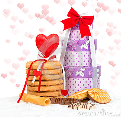 Free Cake And Box Gift With Hearts Stock Photo - 36192400