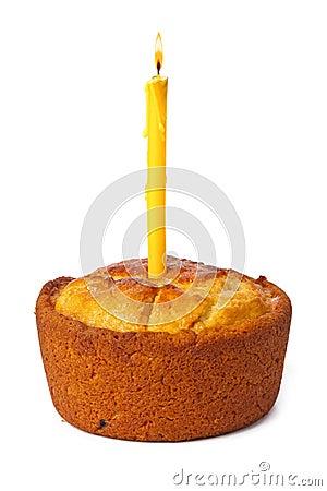 Free Cake And Burning Candle Stock Photo - 56748740