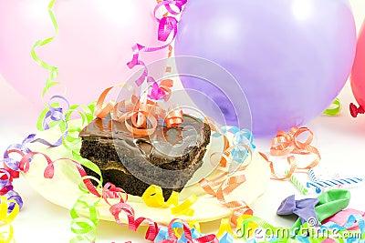 Cake, balloons, ribbons