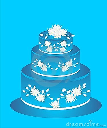 Cake with blue icing and white flowers