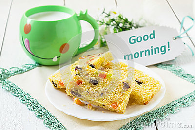 Cake Images Good Morning : Cake With Candied Fruit, Milk In A Mug Stock Photo - Image ...