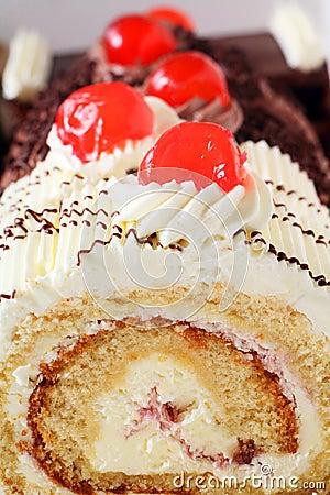 Cake with cherries