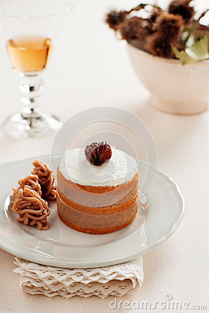 Cake with chestnuts
