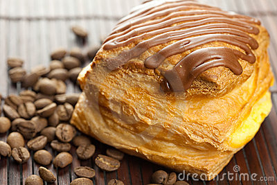 Cake with chocolate and coffee beans
