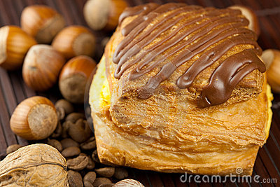 Cake With Chocolate, Coffee Beans And Nuts Stock Photo - Image ...
