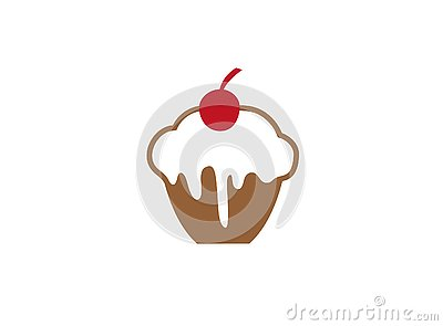 Cake with chocolate and cream and Cherry in the top for logo Cartoon Illustration