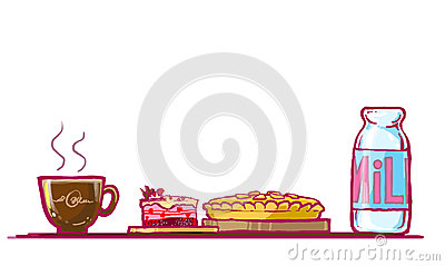 cake, chocolate pie and milk illustration