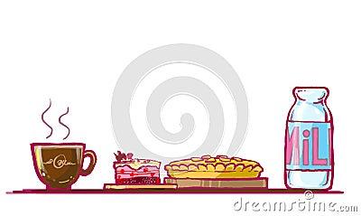cake, chocolate pie and milk illustration