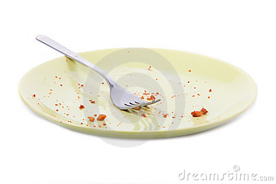 Stock Photography of Empty plate with crumbs - Overhead view of plate and fork... csp9239351 ... |Empty Plate With Crumbs Clipart