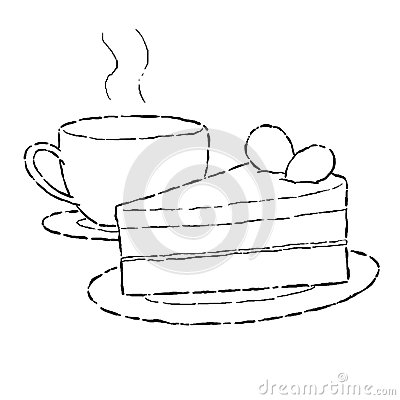 Cake And Cup Of Coffee Stock Illustration Image 42871299