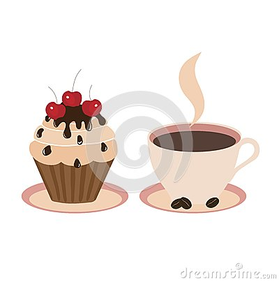 Cake and cup light background, vector