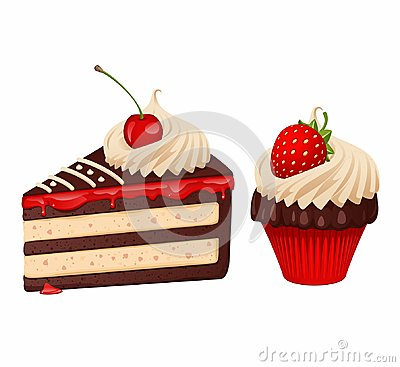 Cake and cupcake Vector Illustration