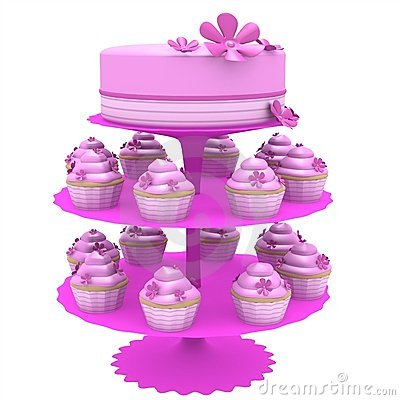 Cake and cupcakes - 3d generated