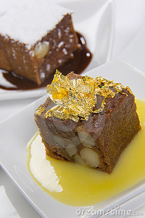 Cake with custard sauce