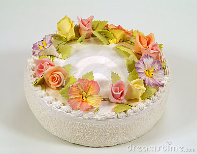 Cake Decorated With Gumdrop Flowers : Cake Decorated With Flowers Stock Image - Image: 3966721