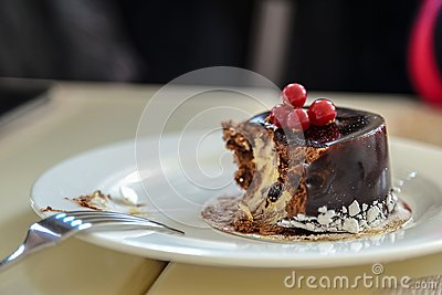 A delicious cake on white plate