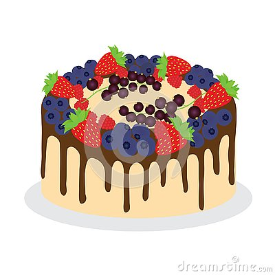 Cake with fresh diferent berries. Vector Illustration