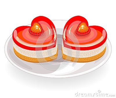 The cake has a heart shape. Exquisite sweetness. Suitable for a romantic meeting, for Valentine`s Day, like a valentine. Vector Cartoon Illustration